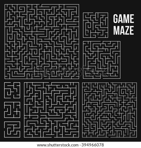 Maze Game Set. Labyrinth Game with Entry and Exit. Find the Way Out Concept. Transportation. Logistics Abstract Background Concept. Business Path Concept. Vector Illustration.