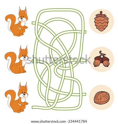 Maze game (squirrel and nuts) - stock vector