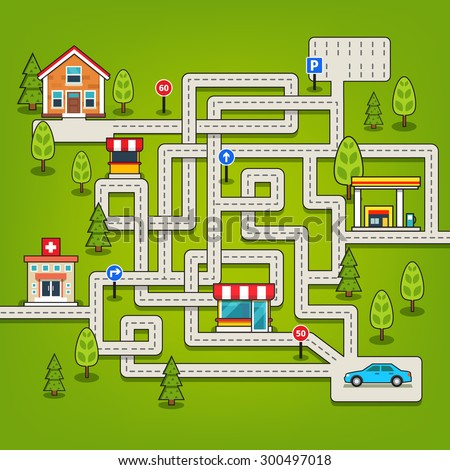 Maze game with roads, trees, car, parking, store, hospital, gas station, home and road signs. Flat style vector isolated illustration. - stock vector