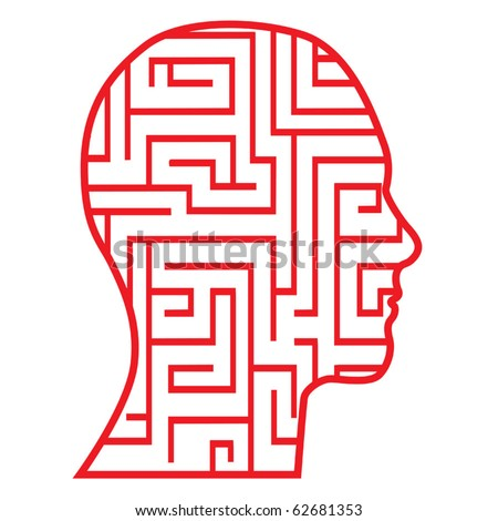 maze head icon vector - stock vector