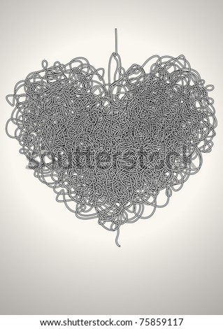 maze in the shape of a heart - stock vector