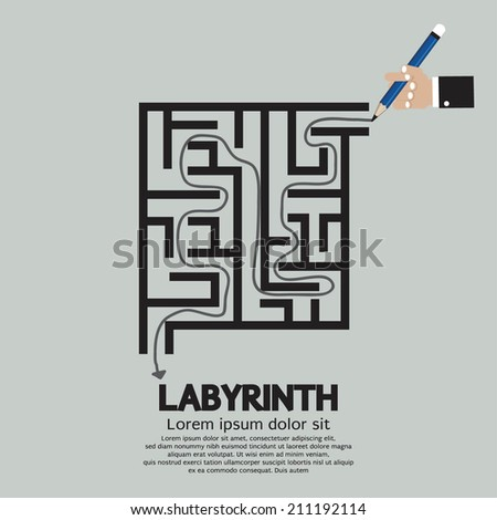 Maze Labyrinth Graphic Vector Illustration - stock vector