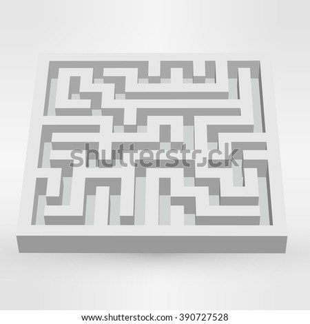 Maze labyrinth puzzle white on grey background. 3D Vector. - stock vector