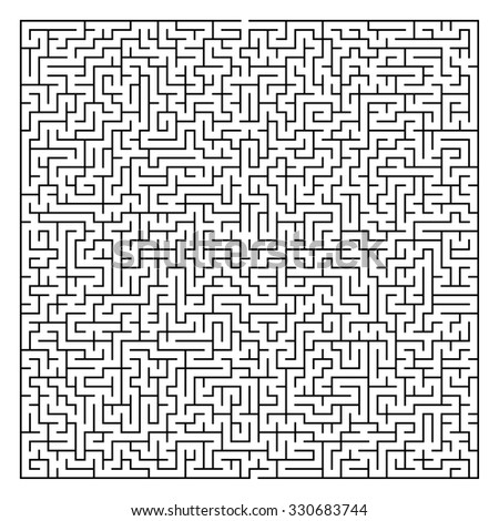Maze / Labyrinth with Entry and Exit. Find the Way Out Concept. Transportation / Logistics Abstract Background Concept. Business Path Concept. Vector Illustration. - stock vector