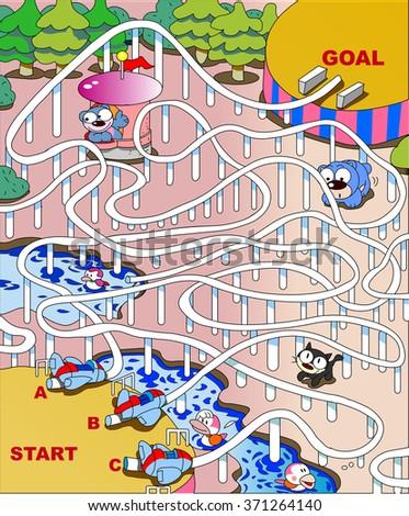 Maze of roller coaster - stock vector