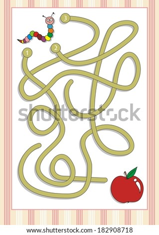 Maze or Labyrinth Game for Preschool Children  (4) - stock vector