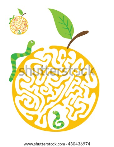 Maze puzzle for kids with caterpillars and apple. Labyrinth illustration, solution included.