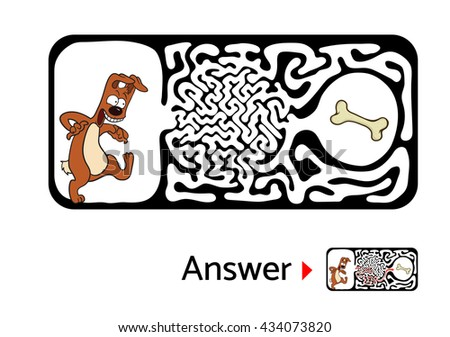 Maze puzzle for kids with dog and bone. Labyrinth illustration, solution included. - stock vector