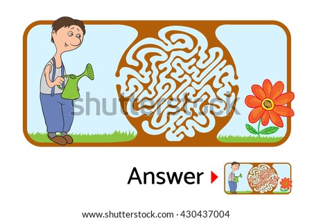 Maze puzzle for kids with gardener and flower. Labyrinth illustration, solution included. - stock vector