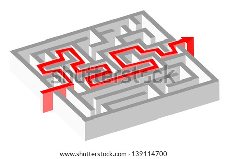 Maze puzzle solved by red arrow - stock vector