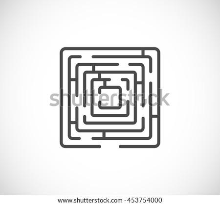 maze rectangle web icon - stock vector
