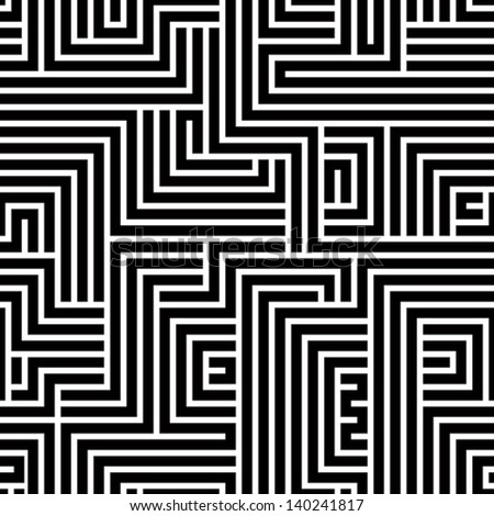 Maze seamless pattern, black and white vector background.
