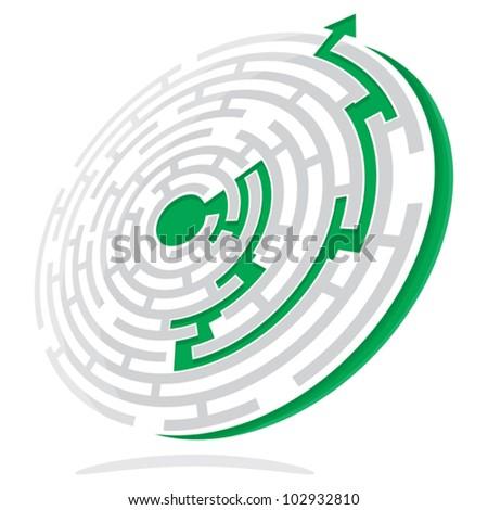 Maze Solution - stock vector