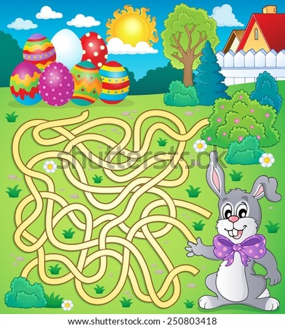 Maze 4 with Easter theme - eps10 vector illustration. - stock vector