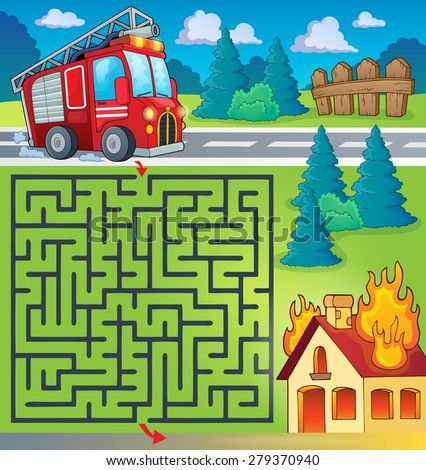 Maze 3 with fire truck theme - eps10 vector illustration. - stock vector