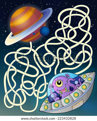 Maze 15 with flying saucer - eps10 vector illustration. - stock vector