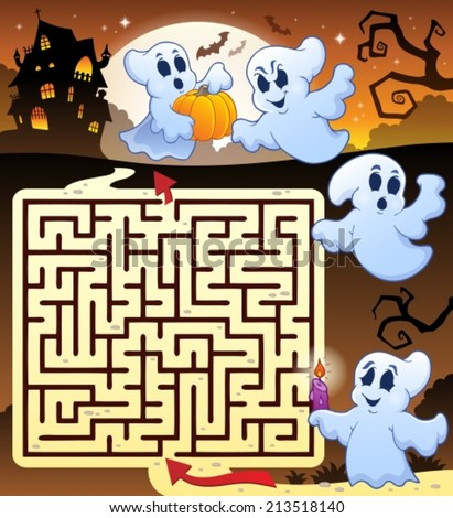 Maze 3 with Halloween thematics - eps10 vector illustration. - stock vector