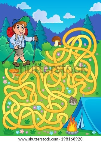 Maze 1 with hiker outdoor - eps10 vector illustration. - stock vector