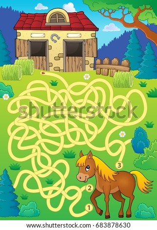 Maze 33 with horse theme - eps10 vector illustration.