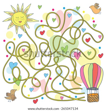 Maze with hot air balloons vector illustration in doodle style - stock vector