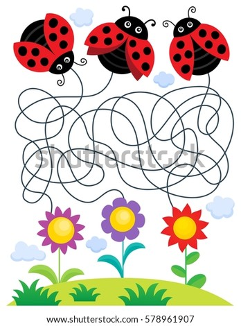 Maze 25 with ladybugs and flowers - eps10 vector illustration.