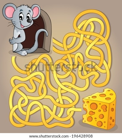 Maze 1 with mouse and cheese - eps10 vector illustration. - stock vector