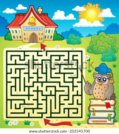 Maze 3 with owl teacher - eps10 vector illustration. - stock vector
