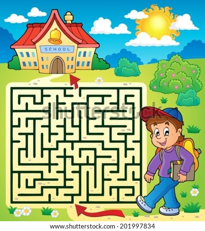 Maze 3 with schoolboy - eps10 vector illustration. - stock vector