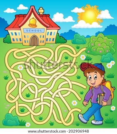 Maze 4 with schoolboy - eps10 vector illustration. - stock vector