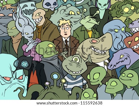 Me among the aliens - stock vector