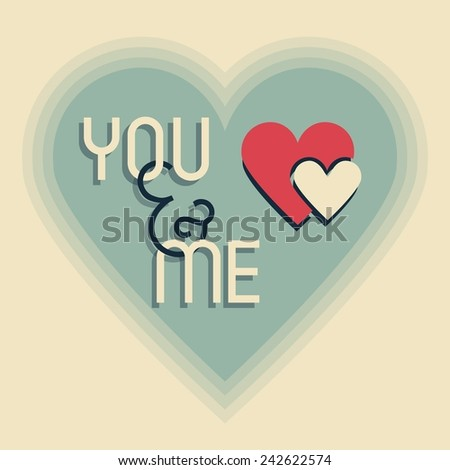 Me and You on retro heart shape designs icon with blended shadows - stock vector