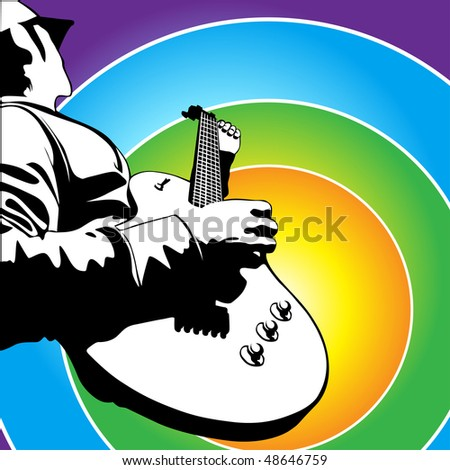 me playing electric guitar vector illustration - stock vector