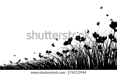 Meadow background with butterflies. All objects are separated. Vector illustration with transparency. Eps 10. - stock vector