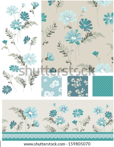 Meadow Flower Vector Seamless Patterns and Icons. Use as fills, digital paper, or print off onto fabric to create unique items. - stock vector