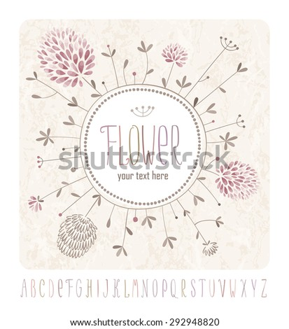 Meadow flowers greeting card with round label and handwritten alphabet - stock vector