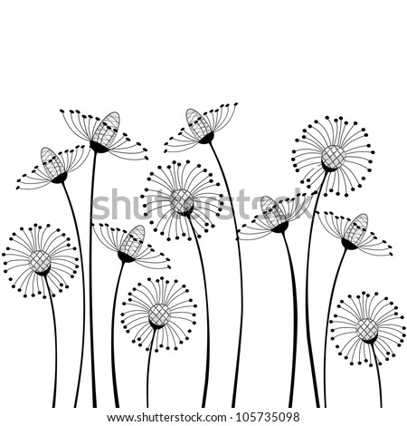 meadow flowers on white background - stock vector