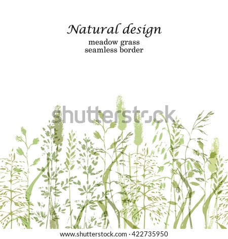 Meadow grass seamless border in natural green colors. Grass silhouettes design.