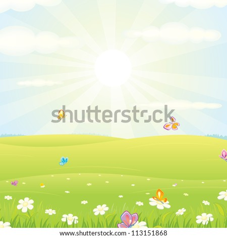 Meadow Landscape Vector - stock vector