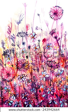 meadow of pink flowers/ dandelion/ abstract watercolor background/ vector illustration - stock vector
