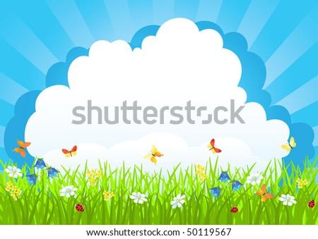 Meadow. Summer morning. Vector illustration. - stock vector
