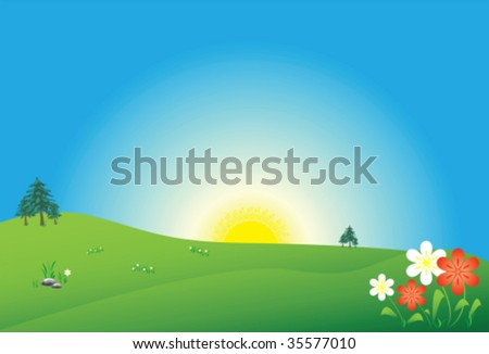 Meadow with sun and flowers
