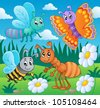 Meadow with various bugs theme 2 - vector illustration. - stock vector