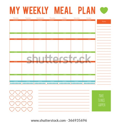 Meal plan weekcalendar page vector printable stock vector meal plan for a weekcalendar page vector printable boxeshalf boxes pronofoot35fo Gallery