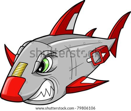Mean Metal Armed Robot Cyborg Shark Vector Illustration - stock vector