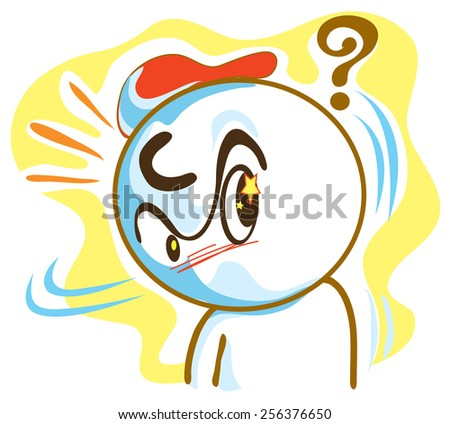 Meaning same Do you have a problem? He ask What pantomime cartoon symbol design - stock vector
