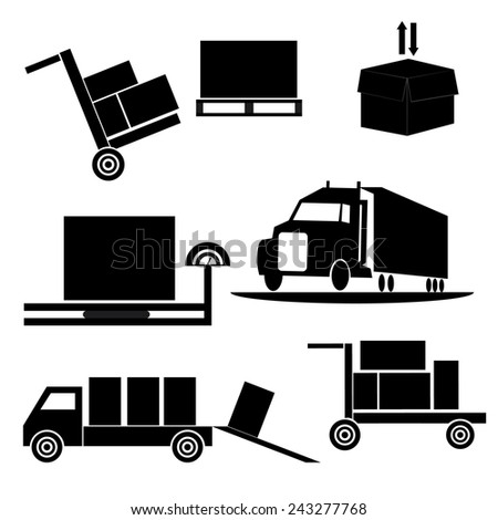 Means and methods of delivery. Vector icons. - stock vector
