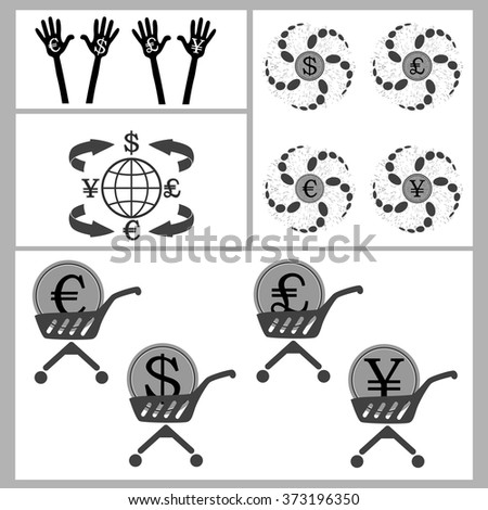 measure their capabilities and earn money a set of global currency and palm. for successful business and make money vector illustration for design and printing - stock vector