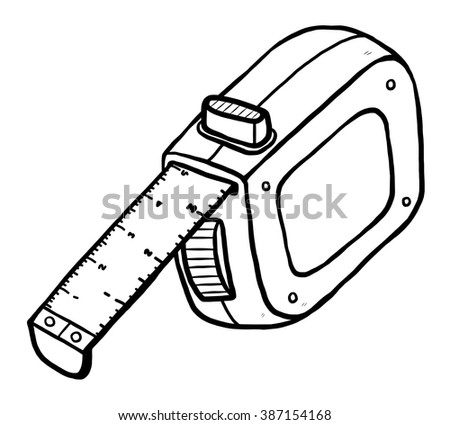 measurement tape / cartoon vector and illustration, black and white, hand drawn, sketch style, isolated on white background.