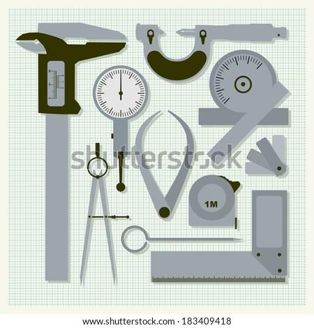Measuring instruments on graph paper,  conceptual vector set - stock vector