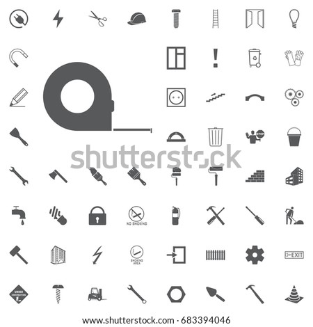 Measuring Tape Glyph Icon Roulette Meter Stock Vector 683394046 ...